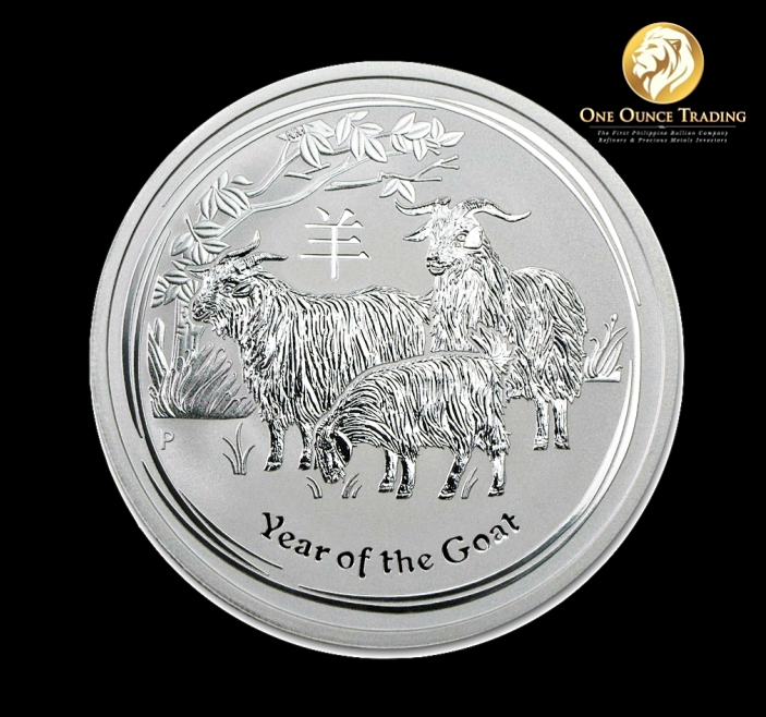 2 Oz Silver Lunar Goat Bu 2015 With Capsule One Ounce